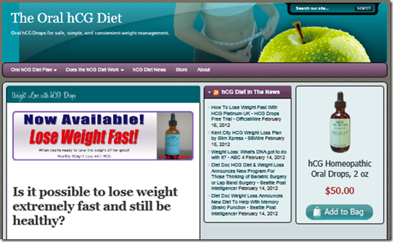 The Oral Hcg Diet website by Nerdmans.com